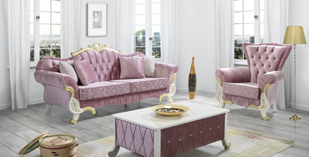 Casa Padrino Barock Wohnzimmer Set Rosa / Weiß / Gold - 2 Sofas & 2 Sessel & 1 Couchtisch - Wohnzimmer Möbel im Barockstil - Edle Barock Möbel