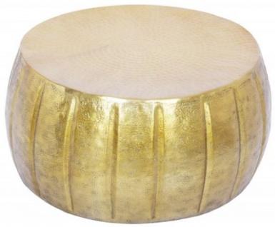 Casa Padrino Aluminium Couchtisch Gold Ø 65 x H. 31 cm - Runder Wohnzimmertisch im orientalischen Stil - Wohnzimmer Möbel