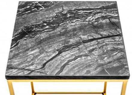 Casa Padrino Designer Beistelltisch mit Marmorplatte Schwarz / Gold 30 x 30x H.45 - Wohnzimmermöbel - Vorschau 3
