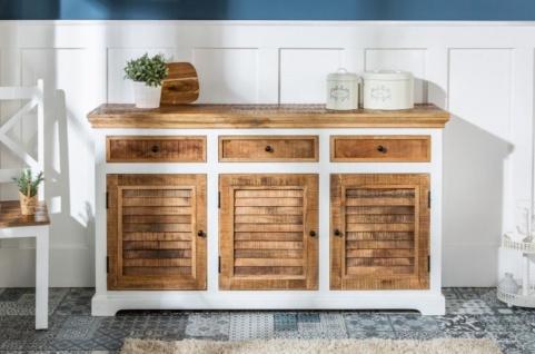 Casa Padrino Landhausstil Sideboard Weiß / Naturfarben 160 x 40 x H. 90 cm - Massivholz Schrank mit 3 Türen und 3 Schubladen - Wohnzimmer Möbel im Landhausstil - Vorschau 3