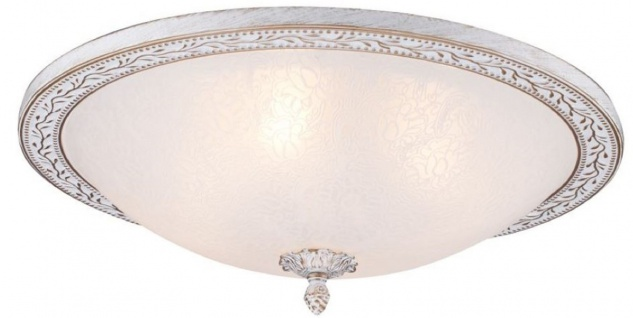 Casa Padrino Barock Deckenleuchte Weiß / Gold Ø 47 x H. 18, 5 cm - Runde Deckenlampe im Barockstil