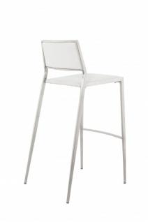 Casa Padrino Luxus Designer Barstuhl Weiß mit Rückenlehne, Barhocker, gepolstert - Barhocker - Vorschau 4