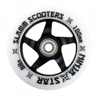 Slamm Profi Scooter Rolle Ninja Star White 100mm / 88A (1 Rolle) inkl Abec 9 Kugellager