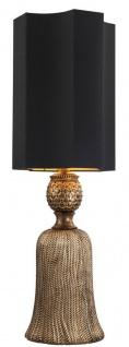 Casa Padrino Luxus Tischleuchte Antik Gold / Schwarz 30, 5 x 30, 5 x H. 96 cm - Wohnzimmer Lampe - Luxus Qualität