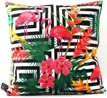 Casa Padrino Luxus Kissen Miami Flamingos & Flowers Mehrfarbig 45 x 45 cm - Feinster Samtstoff - Deko Wohnzimmer Kissen