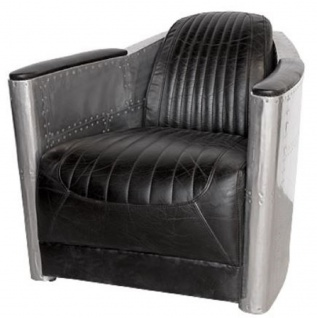 Casa Padrino Art Deco Aluminium Echtleder Sessel Schwarz / Silber 74, 5 x 94 x H. 78 cm - Club Sessel - Lounge Sessel - Flugzeug Flieger Möbel