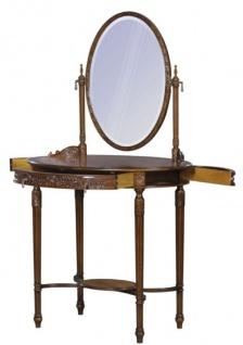 Casa Padrino Luxus Barock Schminktisch Dunkelbraun / Braun 80 x 57 x H. 142 cm - Ovaler Schminktisch im Barockstil - Vorschau 2
