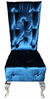 Casa Padrino Barock Esszimmer Stuhl Türkis / Silber - Designer Stuhl - Luxus Qualität Hochlehnstuhl Hochlehner GH