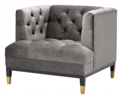 Casa Padrino Luxus Wohnzimmer Sessel Grau / Schwarz / Messingfarben 93 x 85 x H. 79 cm - Chesterfield Möbel