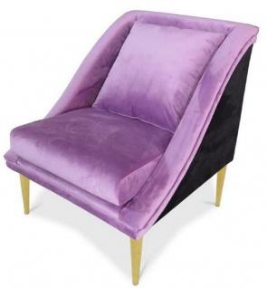Casa Padrino Luxus Wohnzimmer Samt Sessel Lila / Schwarz / Gold 61 x 61 x H. 78 cm - Luxus Möbel