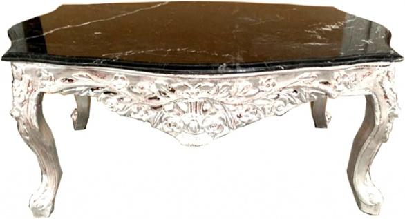 Casa Padrino Barock Couchtisch Silber mit schwarzer Marmorplatte - Möbel Wohnzimmer Tisch Antik Stil