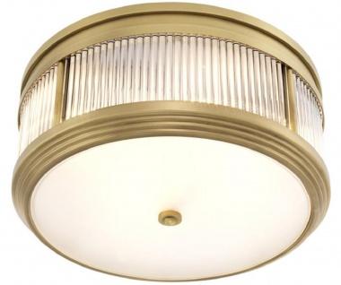 Casa Padrino Luxus Deckenleuchte Antik Messingfarben Ø 40, 5 x H. 18, 5 cm - Runde Deckenlampe