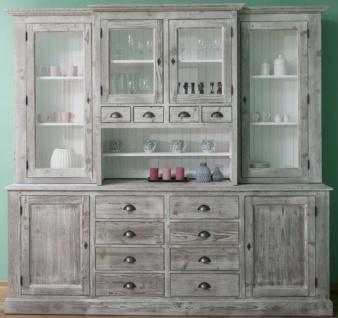 Casa Padrino Landhausstil Küchenschrank Grau / Weiß 244 x 47 x H. 225 cm - 2 Teiliger Schrank mit 6 Türen und 12 Schubladen - Landhausstil Küchenmöbel