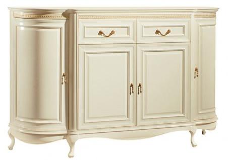 Casa Padrino Luxus Barock Kommode Creme / Gold 168, 9 x 46, 7 x H. 105 cm - Prunkvolle Kommode mit 4 Türen und 2 Schubladen - Luxus Qualität