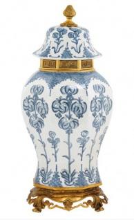 Casa Padrino Luxus Barock Keramik Vase Weiß / Blau / Gold - Grand Decor V1 - Hotel Dekoration