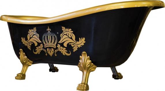 Pompöös by Casa Padrino Luxus Badewanne Deluxe freistehend von Harald Glööckler Schwarz / Gold / Schwarz 1560mm mit goldfarbenen Löwenfüssen - Vorschau 1