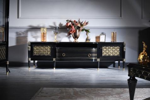 Casa Padrino Luxus Barock Fernsehschrank Schwarz / Gold 226 x 59 x H. 68 cm - Barock Wohnzimmerschrank mit 2 Türen und Schublade