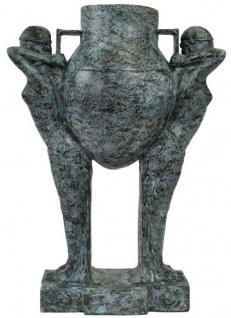 Casa Padrino Luxus Art Deco Bronze Skulptur Frauen mit Vase Türkis / Schwarz 49 x 23, 5 x H. 68 cm - Elegante Bronzefigur mit Blumenvase - Schreibtisch Deko - Wohnzimmer Deko - Luxus Kollektion