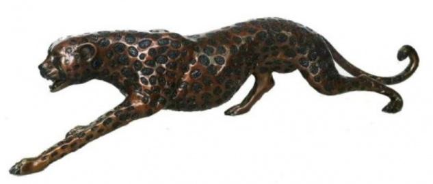 Casa Padrino Luxus Bronzefigur Gepard 115 x 17 x H. 26 cm - Luxus Qualität