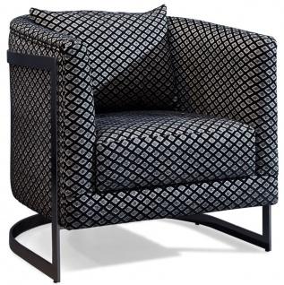 Casa Padrino Luxus Sessel Silber / Schwarz 73 x 64 x H. 77 cm - Wohnzimmer Sessel mit dekorativem Kissen - Luxus Wohnzimmer Möbel