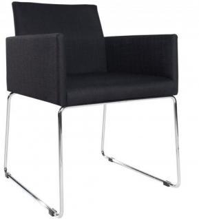 Casa Padrino Designer Stuhl mit Armlehnen Schwarz 55cm x 80cm x 60cm - Büromöbel