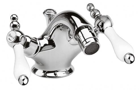 Jugendstil Retro Bidetarmatur Badezimmer Waschtischarmatur Silber / Weiß H. 10, 5 cm - Luxus Qualität