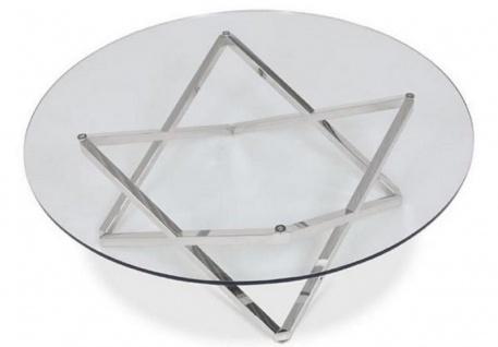 Casa Padrino Luxus Couchtisch Silber Ø 60 x H. 50 cm - Runder Wohnzimmertisch mit Glasplatte - Luxus Wohnzimmermöbel - Vorschau 3