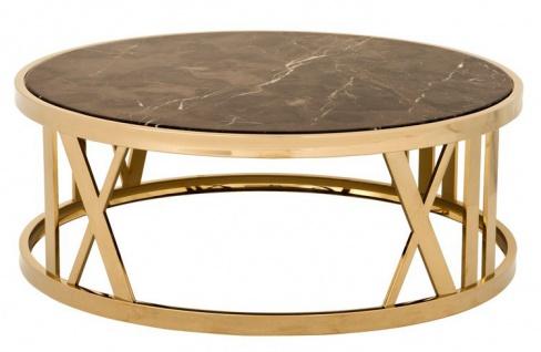Casa Padrino Luxus Art Deco Couchtisch Rund Gold mit Marmor Platte - Luxus Kollektion