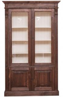 Casa Padrino Landhausstil Bücherschrank Dunkelbraun / Creme 119 x 39 x H. 197 cm - Wohnzimmerschrank mit 4 Türen - Massivholz Schrank - Vitrinenschrank - Landhausstil Wohnzimmermöbel - Vorschau 2