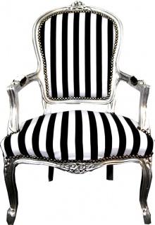 Casa Padrino Barock Salon Stuhl Schwarz / Weiß Streifen / Silber - Möbel gestreift