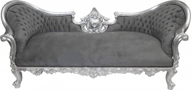 Casa Padrino Barock Sofa Vampire Grau/Silber - Limited Edition - Lounge Couch