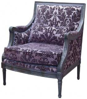 Casa Padrino Luxus Barock Sessel Lila / Grau 70 x 65 x H. 90 cm - Handgefertigter Wohnzimmer Sessel mit elegantem Muster und dekorativem Kissen - Edle Barock Möbel