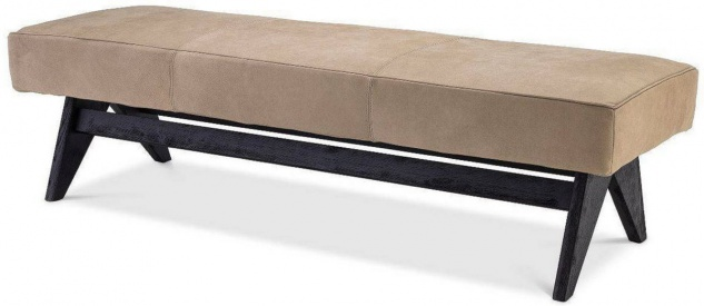 Casa Padrino Luxus Echtleder Bank Beige / Schwarz 164 x 54 x H. 44 cm - Gepolsterte Massivholz Sitzbank mit edlem Nubuk Büffelleder - Luxus Möbel