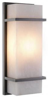Casa Padrino Luxus Wandleuchte Bronze / Alabaster 13 x 9 x H. 34 cm - Elegante Wandlampe mit Alabaster Lampenschirm - Luxus Leuchten