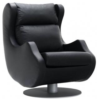 Casa Padrino Luxus Drehsessel Schwarz / Grau 72 x 82 x H. 96 cm - Relax Sessel - Leder Sessel - Luxus Möbel
