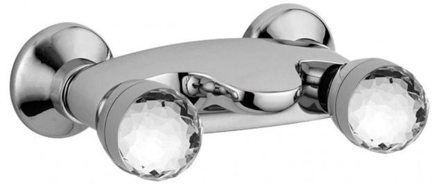 Casa Padrino Luxus Aufputz- Brausebatterie mit Swarovski Kristallglas Silber 20 x 13, 5 x H. 7 cm - Badewannen Armatur - Erstklassische Qualität - Made in Italy