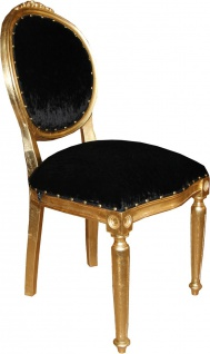 Casa Padrino Barock Medaillon Luxus Esszimmer Stuhl ohne Armlehnen in Schwarz / Gold - Limited Edition - Vorschau 2