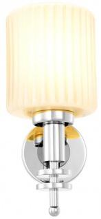 Casa Padrino Luxus Wandleuchte Silber / Vintage Weiß 13 x 18 x H. 28, 5 cm - Hotel & Restaurant Wandlampe mit Glas Lampenschirm - Vorschau 4