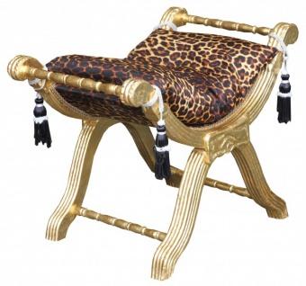 Casa Padrino Barock Sitzhocker - Kreuzhocker Leopard Muster/Gold