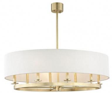 Casa Padrino Luxus Hängeleuchte Antik Messingfarben / Weiß Ø 99, 7 x H. 29, 9 cm - Luxus Kollektion