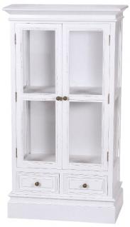 Casa Padrino Landhausstil Vitrine / Vitrinenschrank Antik Weiß 69 x 35 x H. 127 cm - Zweitürige Glasvitrine mit 2 Schubladen im Landhausstil