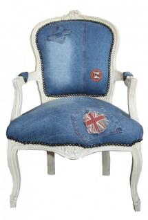 Casa Padrino Barock Salon Stuhl Jeans / Creme