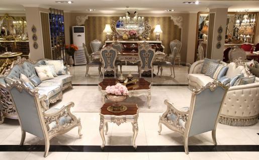 Casa Padrino Luxus Barock Wohnzimmer Set - 2 Sofas & 2 Sessel & 1 Couchtisch & 2 Beistelltische - Wohnzimmer Möbel im Barockstil - Edel & Prunkvoll