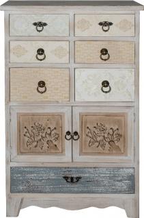 Casa Padrino Landhausstil Shabby Chic Kommode Antik Weiß / Mehrfarbig 60 x 35 x H. 97 cm - Handgefertigte Kommode mit 2 Türen und 7 Schubladen