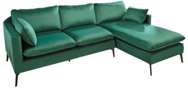 Casa Padrino Samt Ecksofa Smaragdgrün / Schwarz 260 x 160 x H. 93 cm - Wohnzimmer Sofa mit Kissen im Retro Style - Wohnzimmer Möbel