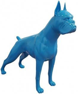 Casa Padrino Designer Dekofigur Boxer Hund Blau 190 x H. 173 cm - Riesige Skulptur - Gartendeko