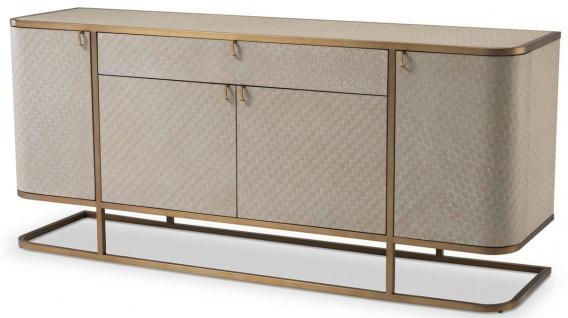 Casa Padrino Luxus Kommode mit 4 Türen und Schublade Beige / Messingfarben 170 x 46 x H. 75 cm - Sideboard - Schrank - Luxus Möbel - Luxus Qualität