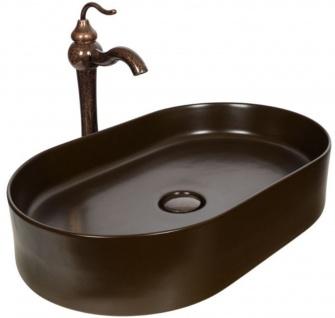 Casa Padrino Jugendstil Waschtisch Set 61 x 38, 5 x H. 37, 2 cm - Retro Einhebel Wasserhahn mit antiker Marmoroberfläche und elegantem ovalen Waschbecken - Rustikales Bad Zubehör