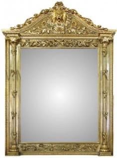 Riesiger Casa Padrino Luxus Barock Wandspiegel Löwenkopf Gold 260 x 170 cm - Massiv und Schwer - Goldener Spiegel