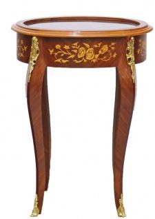 Casa Padrino Barock Beistelltisch Mahagoni Intarsien / Gold H75 x 55 cm - Ludwig XVI Antik Stil Tisch - Möbel - Vorschau 1